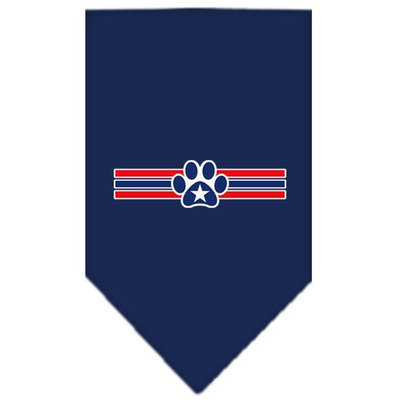 Mirage Pet Products 6658 SMNB Patriotic Star Paw Screen Print Bandana Navy Blue Small