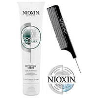 Nioxin 3D Styling DEFINITION CREME, Light Plex Technology, SMOOTHING CREAM, Density, Diameter, DERMA Tested (with Sleek Steel Pin Tail Comb) (5.07 oz/150 ml)