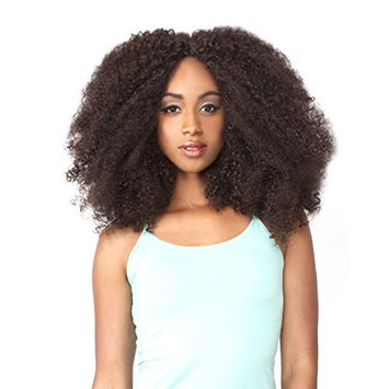 LH AFRO KINKY (1 Jet Black) - THE WIG Brazilian Human Hair Blend Invisible Part Lace Front Wig