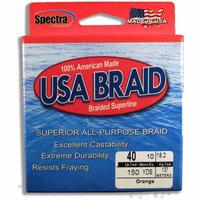 USA BRAID 40lb Braided Superline, 150yds, Orange