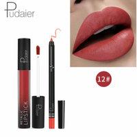 2pcs matte lipstick set liquid lipstick with lip liner nude lipstick kit lip gloss matte lips famous long lasting (12#)