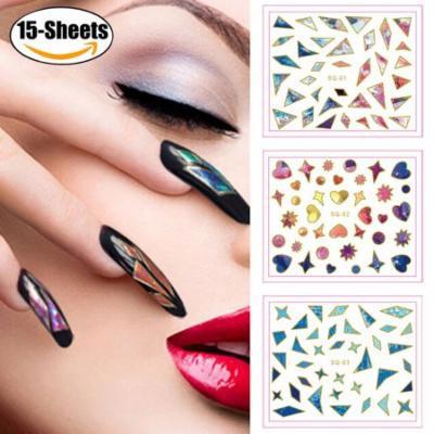 15 Sheets Nail Stickers Self Adhesive Nail Art Stickers Nail Sticker Decals Nail Art Decals fro Women