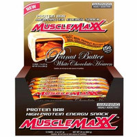 MuscleMaxx, High-Protein Energy Snack, Protein Bar, Peanut Butter White Chocolate Heaven, 12 Bars, 2 oz (pack of 1)