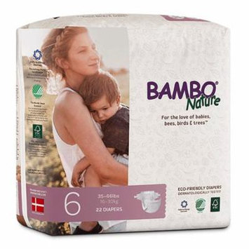 Bambo Nature Premium Baby Diapers, Size 6 (35-66 lbs), 264 Count (2 Cases of 132)