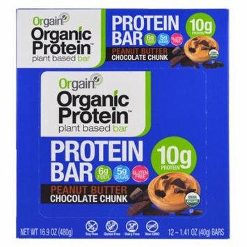 Orgain, Organic Plant-Based Protein Bar, Peanut Butter Chocolate Chunk, 12 Bars, 1.41 oz (40 g) Each(pack of 4)