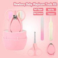 WALFRONT 4pcs Convenient Daily Baby Nail Clipper Scissors Nails File Tweezers Manicure Care Kit , Manicure Kit, Nail Clipper