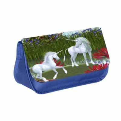 Unicorns - Blue Medium Sized Makeup Bag with 2 Zippered Pockets and Velcro Closure