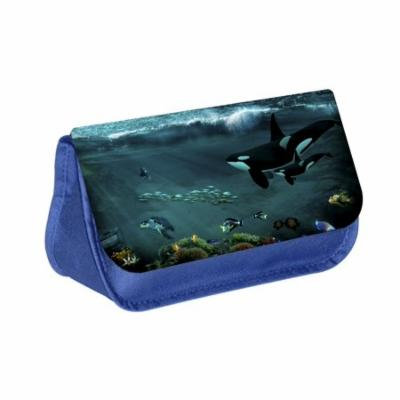 Orcas - Blue Medium Sized Makeup Bag with 2 Zippered Pockets and Velcro Closure