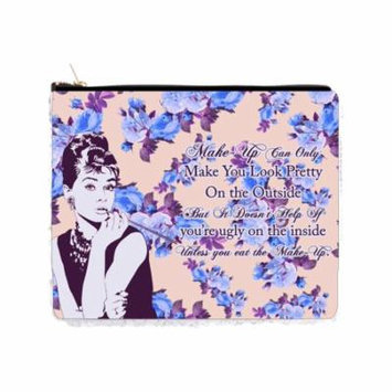 Audrey Hepburn Makeup Quote in Vintage Style Roses Design - 2 Sided 6.5