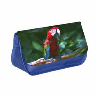 Parrot - Blue Medium Sized Makeup Bag with 2 Zippered Pockets and Velcro Closure