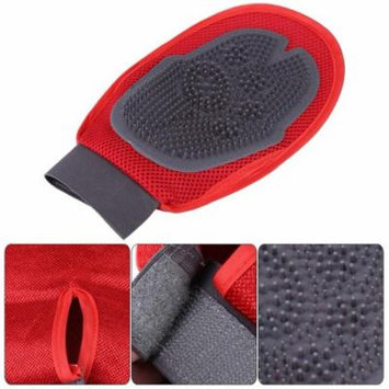 Keenso Dual Sided Pet Dog Cat Cleaning Brush Massage Gloves for Hair Removal Grooming Bathing, Dog Grooming Glove, Dog Bath Glove