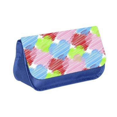 Hearts - Blue Medium Sized Makeup Bag with 2 Zippered Pockets and Velcro Closure