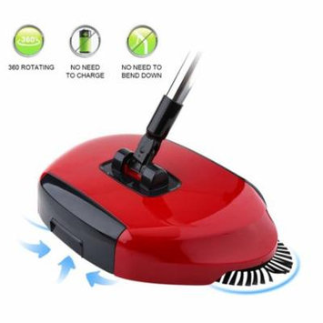 Household 360 Rotary Hand Push Sweeper Dust Collector Sweeping Machine Floor Surface Cleaning Tool Cleaner Without Electricity Environmental (Red)