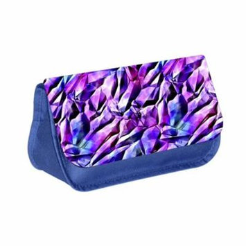 Diamond Shards - Blue Medium Sized Makeup Bag with 2 Zippered Pockets and Velcro Closure