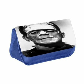 Frankenstein - Blue Medium Sized Makeup Bag with 2 Zippered Pockets and Velcro Closure
