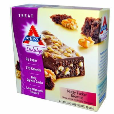 Atkins, Endulge, Nutty Fudge Brownie, 5 Bars, 1.4 oz (40 g) Each(pack of 1)