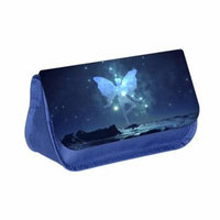 Galactic Fairy - Blue Medium Sized Makeup Bag with 2 Zippered Pockets and Velcro Closure