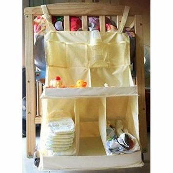 JustNile Waterproof Slip-proof Nylon Baby Nursery Cot Multilayer Hanging Organizer Diaper Caddy 9 Pockets - Beige Color