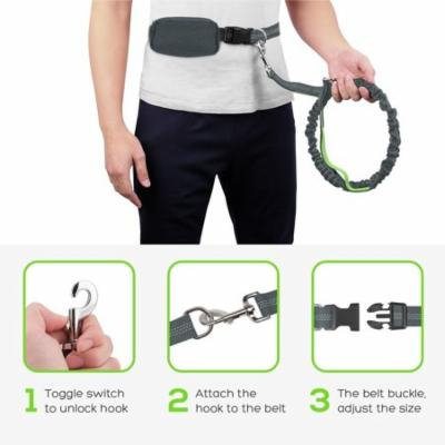 """Pecute Hands Free Dog Leash Double Handle Leash with Zipper Pouch -Extendable Bungee with Reflective Stitching - Detachable Waist Belt up to 48"""" Waist - for Jogging, Running, Hiking"""