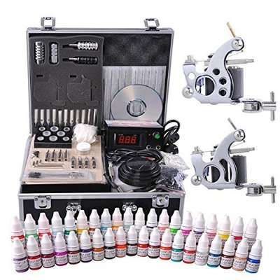 Tattoo Kit Supplies 40x Bottles of 5ml tattoo Inks Tattoo Guns Carrying Case For All Level Tattoo Artist and Starters