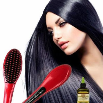 Anti Scald Hair Straightening Ceramic Brush with Coconut Oil - Red