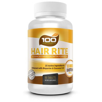Hair Rite: Hair Growth Vitamin Supplements - 10,000 Mcg Biotin, 33 Ingredients, Enhanced with Black Pepper and Coconut Oil, Intensive Hair Loss Prevention for Women and Men