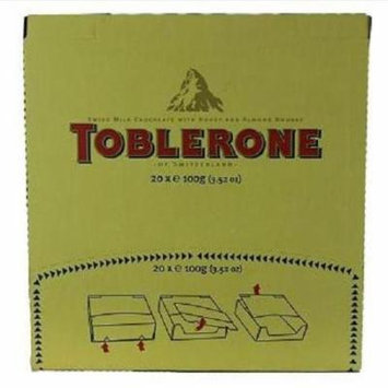 Toblerone Chocolate Bar - Swiss Milk Chocolate - Honey and Almond Nougat - 3.52 oz - Case of 20