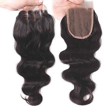 Elva Hair 3 Part Closure Body Wave Virgin Brazilian Hair 130% Density Lace Closure (16 Inch)