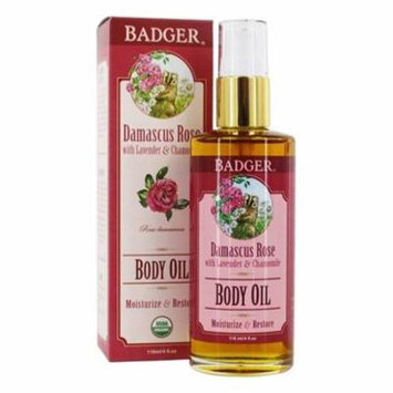 Body Oil Damascus Rose with Lavender & Chamomile - 4 fl. oz. by Badger (pack of 1)