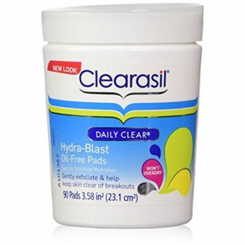 Clearasil Daily Clear Acne Face Pore Cleansing Pads, Hydra-Blast Oil-Free Facial Pads, 90 ct(Pack of 2)
