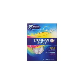 Tampax Pearl Plastic Tampons, Regular Absorbency, Fresh Scent, 18 ea (Pack of 7)
