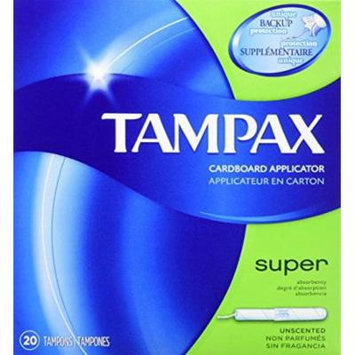 Tampax Cardboard Applicator Tampons, Super Absorbency, Unscented, 20 Count - Pack of 4 (80 Total Count)