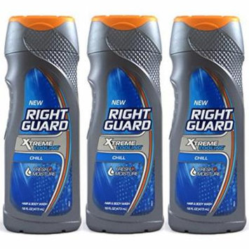Right Guard Xtreme Cooling Hair and Body Wash, Chill, 16 Oz (Pack of 3)