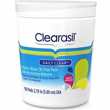 Clearasil Daily Clear Acne Face Pore Cleansing Pads, Hydra-Blast Oil-Free Facial Pads, 90 ct(Pack of 6)