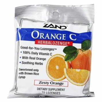 Herbalozenge Orange C with Vitamin C Orange Flavor - 15 Lozenges by Zand (pack of 12)