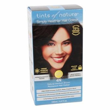 Conditioning Permanent Hair Color 4N Natural Medium Brown - 4.4 fl. oz. by Tints Of Nature (pack of 4)