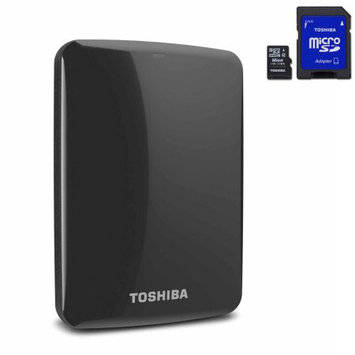 Hitachi Toshiba 1TB USB 3.0 portable external hard drive with backup software Bundle w/BONUS 16GB USB & 16GB Micro SD