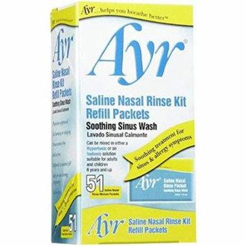 Ayr Saline Nasal Rinse Kit Soothing Sinus Wash - Refills 51 ea (Pack 2)