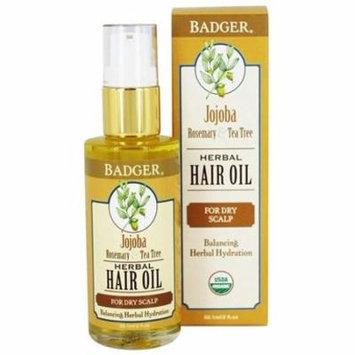 Hair Oil Herbal For Dry Scalp Jojoba, Rosemary & Tea Tree - 2 fl. oz. by Badger (pack of 4)