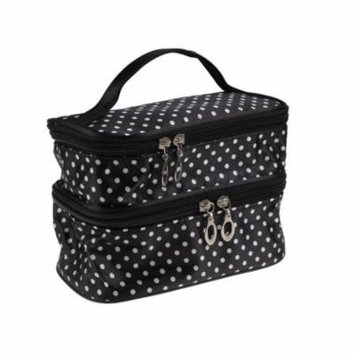 Portable Dot Pattern Double Layer Cosmetic Bag Organizer With Mirror -Black With White Pokadot