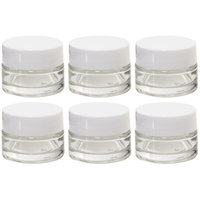 Clear Glass 0.25 oz Thick Wall Balm Jars with White Foam Lined Smooth Lids (12 pack)