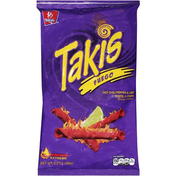 Takis Fuego Hot Chili Pepper & Lime Tortilla Chips, 9.9-Ounce Bag