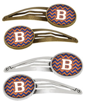 Letter B Chevron Blue and Orange #3 Set of 4 Barrettes Hair Clips CJ1060-BHCS4