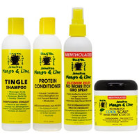 Jamaican Mango & Lime Shampoo + Conditioner + No More Itch Spray Menthol 8oz + Cool Scalp 'Set' (Pack of 4)
