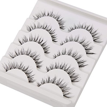 False Eyelashes,TianQin WY 5 Pairs Fake Eyelashes Handmade Messy Natural 3D Eye Lashes Cross Fashion Extension For Makeup