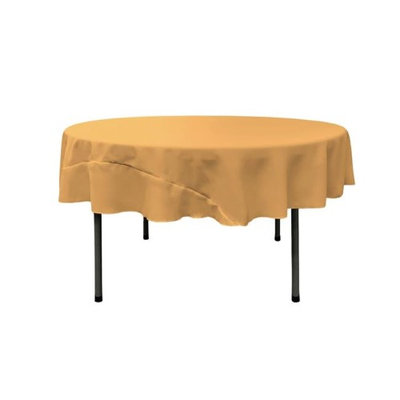 LA Linen TCpop72R-GoldP14 Polyester Poplin Tablecloth Gold - 72 in. Round