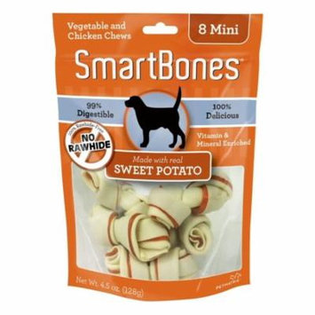 SmarBones - Sweet Potato Flavor Mini - Dogs up to 10 Lbs (8 Pack) - Pack of 4