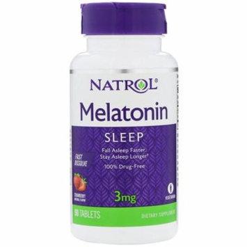Natrol, Melatonin, Fast Dissolve, Strawberry Flavor, 3 mg, 90 Tablets(Pack of 12)