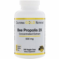 California Gold Nutrition, Bee Propolis 2X, Concentrated Extract, 500 mg, 240 Veggie Caps(Pack of 1)