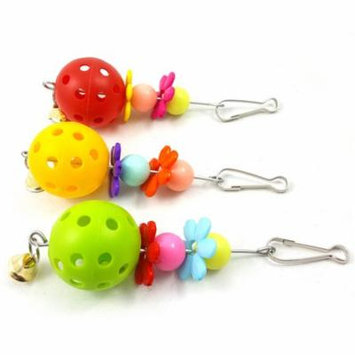 Girl12Queen Parrot Hanging Ornaments Ball Bell Flower Design Bite Toy Chew Swing Bird Tool